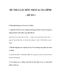 ĐỀ THI LUẬT HÔN NHÂN & GIA ĐÌNH – ĐỀ SỐ 1