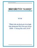 """Đề tài """"Phân tích và đánh giá chỉ số giá tiêu dùng của Việt Nam giai đoạn 2008 – 6 tháng đầu năm 2010"""""""