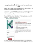 tháng dùng thử miễn phí Kaspersky Internet Security 2012
