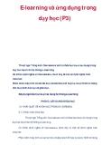 E-learning và ứng dụng trong dạy học (P3)