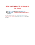 Thủ thuật Windows XP: Kiểm tra Windows XP có bản quyền hay không
