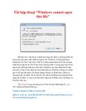 "Thủ thuật Windows XP: Tắt hộp thoại ""Windows cannot open this file"""