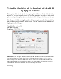 Ngăn chặn bị ngắt kết nối khi download bởi các chế độ tự động của windows