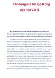 Tác dụng của bài tập trong dạy học Vật lý