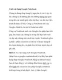 Cách sử dụng Google Notebook
