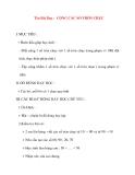 Giáo án lớp 1 môn Toán: Tên Bài Dạy : CỘNG CÁC SỐ TRÒN CHỤC