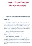 Truyền thẳng ánh sáng- Một định luật đa ứng dụng