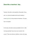 Describe a teachers' day