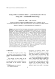 "Báo cáo nghiên cứu khoa học: ""Study of the Treatment of the Liquid Radioactive Waste Nong Son Uranium Ore Processing"""