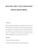 BẢO TỒN CHỨC NĂNG THẦN KINH TRONG BỆNH PHONG