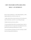CHỨC TRÁCH ĐIỀU DƯỠNG KHOA PHẪU THUẬT – GÂY MÊ HỒI SỨC