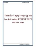 Tìm hiểu về động cơ học tập của học sinh trường PTDTNT THPT tỉnh Trà Vinh