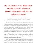 ĐỒ ÁN ÁP DỤNG CÁC HÌNH THỨC THANH TOÁN VÀ BẢO MẬT TRONG TMĐT CHO NHÀ MÁY XI MĂNG AN GIANG_ CHƯƠNG 3