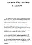 Các bước để tạo một blog hoàn chỉnh