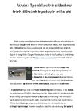 Vuvox - Tạo và lưu trữ slideshow trình diễn ảnh trực tuyến miễn phí