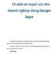 10 add-on tuyệt vời cho doanh nghiệp dùng Google Apps
