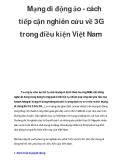 Mạng di động ảo - cách tiếp cận nghiên cứu về 3G trong điều kiện Việt Nam