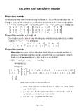 Các phép toán đại số trên ma trận
