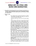 BẢNG MÔ TẢ CÔNG VIỆC NHÂN VIÊN MARKETING