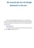 Bổ sung các ghi chú vào Google Notebook từ Chrome