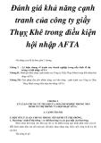 Đánh giá khả năng cạnh tranh của công ty giầy Thụỵ Khê trong điều kiện hội nhập AFTA
