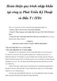Hoàn thiện quy trình nhập khẩu tại công ty Phát Triển Kỹ Thuật và Đầu T (ITD)