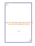 Luận văn: Bước đầu áp dụng luật sở hữu trí tuệ trong lộ trình hội nhập của Việt Nam