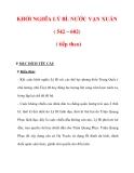 Giáo án Lịch sử lớp 6 : Tên bài dạy : KHỞI NGHĨA LÝ BÍ. NƯỚC VẠN XUÂN ( 542 – 602) ( tiếp theo)