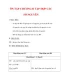 Giáo án môn Toán lớp 6 : Tên bài dạy : ÔN TẬP CHƯƠNG II TẬP HỢP CÁC SỐ NGUYÊN