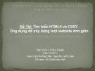 Tìm hiểu về HTML5 và CSS 3, ứng dụng để viết một website đơn giản
