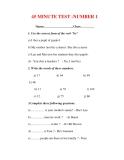 Giáo án Anh văn lớp 6 : Tên bài dạy : 45 MINUTE TEST -NUMBER 1