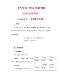 Giáo án Anh văn lớp 6 : Tên bài dạy : UNIT 16 . MAN AND THE ENVIROMENT Lesson 5
