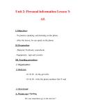Giáo án Anh văn lớp 7 : Tên bài dạy : Unit 2: Personal information Lesson 3: A5.