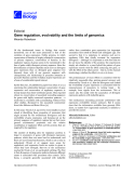 "Báo cáo sinh học: ""Gene regulation, evolvability and the limits of genomics"""