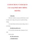 Giáo án Công nghệ lớp 7 : Tên bài dạy : CÁCH SỬ DỤNG VÀ BẢO QUẢN CÁC LOẠI PHÂN BÓN THÔNG THƯỜNG