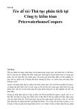 Tóm tắt  Tên đề tài:Thủ tục phân tích tại Công ty kiểm tóan PricewaterhouseCoopers