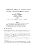 """Báo cáo toán học: """"A construction method for complete sets of mutually orthogonal frequency squares"""""""
