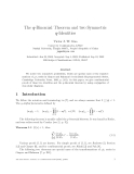 "Báo cáo toán học: ""The q-Binomial Theorem and two Symmetric q-Identities"""