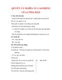 Giáo án Công dân lớp 9 : Tên bài dạy : QUYỀN VÀ NGHĨA VỤ LAO ĐỘNG CỦA CÔNG DÂN