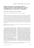 """Báo cáo lâm nghiệp: """"Sulphur and nitrogen concentrations and fluxes in bulk precipitation and throughfall in the mountain and highland spruce stands in the Czech Republic"""""""