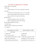 Giáo án Hóa Học lớp 12: CẤU TRÚC VÀ TÍNH CHẤT CỦA POLIME