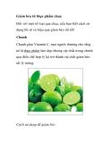 Giảm béo từ những thực phẩm chua