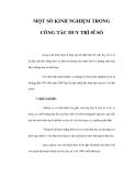 MỘT SỐ KINH NGHIỆM TRONG CÔNG TÁC DUY TRÌ SĨ SỐ