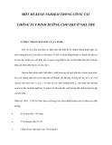MỘT SỐ KINH NGHIỆM TRONG CÔNG TÁC CHỐNG SUY DINH DƯỠNG CHO TRẺ Ở NHÀ TRẺ