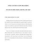 NÂNG CAO CHẤT LƯỢNG HOẠT ĐỘNG TỔ CHUYÊN MÔN TRONG TRƯỜNG TIỂU HỌC