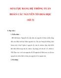 Giáo án Hóa học lớp 9 : Tên bài dạy : SƠ LƯỢC BẢNG HỆ THỐNG TUẦN HOÀN CÁC NGUYÊN TỐ HOÁ HỌC (tiết 2)