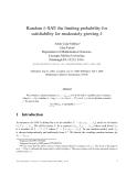 """Báo cáo toán học: """"Random k-SAT: the limiting probability for satisfiability for moderately growing k"""""""