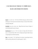 CÁC HÀM NGÀY THÁNG VÀ THỜI GIAN DATE AND TIME FUNCTIONS