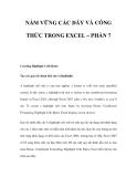 NẮM VỮNG CÁC DÃY VÀ CÔNG THỨC TRONG EXCEL – PHẦN 7
