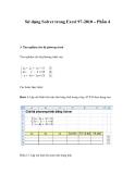 Sử dụng Solver trong Excel 97-2010 – Phần 4